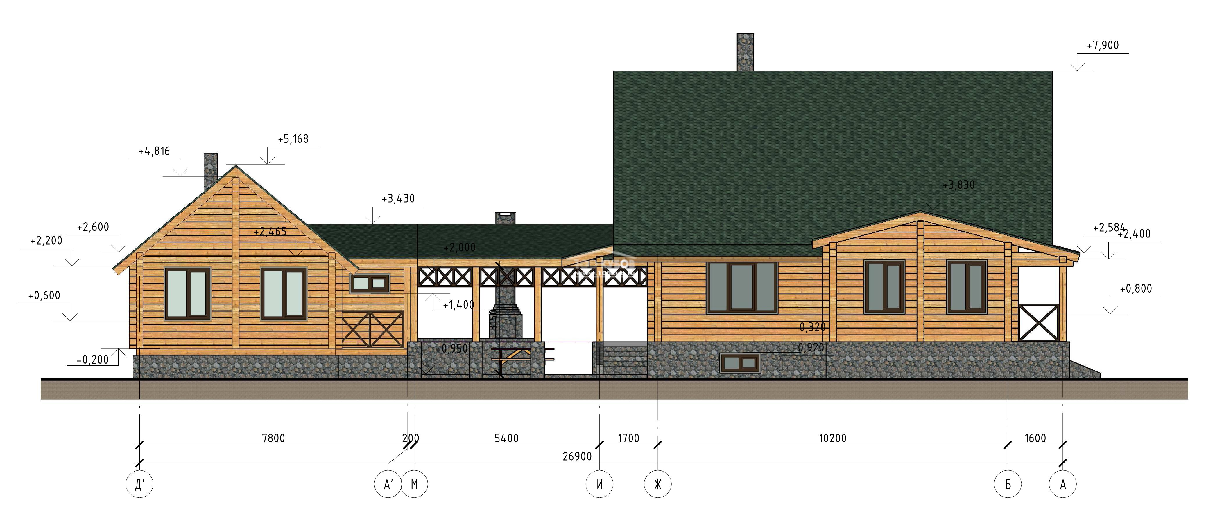 Схема пристройки деревянного дома